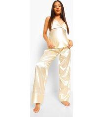 petite satijnen pyjama set met broek en gekruiste rug, champagne