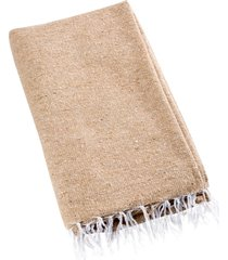 native yoga solid color woven blanket natural/tan cotton