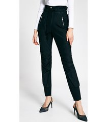 river island womens black paperbag tie waist joggers