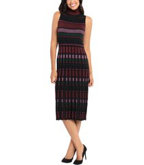maggy london mock neck midi sweater dress, size x-large in black/purple at nordstrom
