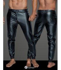 * noir handmade wetlook heren tregging met elastische taille band