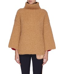 colourblock bell sleeve rib knit turtleneck cashmere sweater