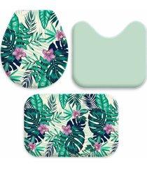 jogo tapetes love decor para banheiro bird and paradise verde único - kanui