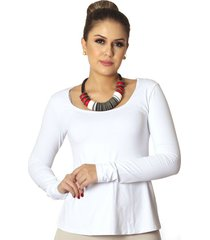 blusa ficalinda manga longa branca decote redondo evasê