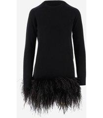 saint laurent designer dresses & jumpsuits, black cashmere women's dress w/feathers