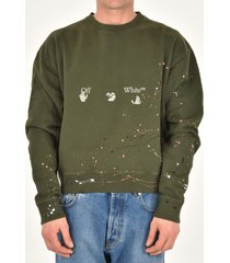 off-white green cotton sweatshirt
