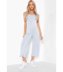 zwangerschap bloemenprint culotte jumpsuit, blue