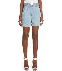 women's balmain logo belt pleat denim shorts, size 2 us - blue