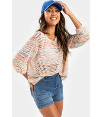 louie melange pullover sweater - coral