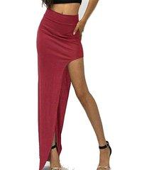 slit diseño falda de cintura alta