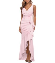 betsy & adam ruffled high-low gown