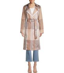 evangelina plaid trench coat