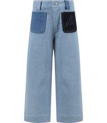sonia rykiel light blue jeans for girl with logo