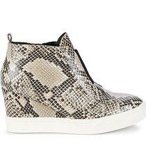 cristie python-print wedge sneakers