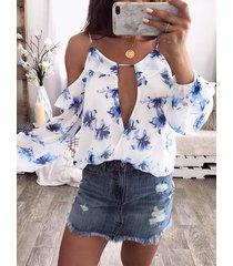 blusa de hombro fría con estampado floral al azar en blanco