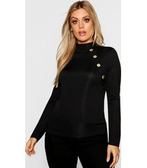plus gold button rib high neck sweater, black