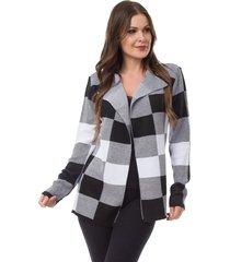 casaco kimono pink tricot xadrez preto/branco - cinza/preto - feminino - acrãlico - dafiti