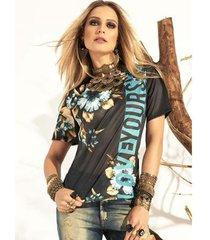t-shirt tigrara malha crepada com estampas florais - feminino