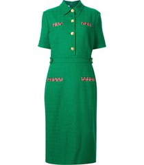 gucci collared tweed dress - green