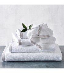 the white company color stripe border bath sheet towel, size one size - white