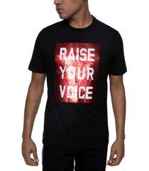 sean john men's raise your voice/fist reversible sequin t-shirt