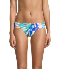 la blanca women's wild tropic side shirred hipster bikini bottom - blue multicolor - size 14