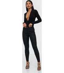 parisian coated high waist skinny jeans byxor