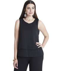 blusa sin mangas escote v negro lorenzo di pontti