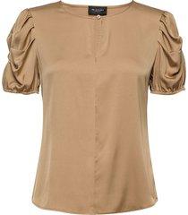 satin stretch - berenice blouses short-sleeved beige sand
