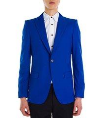 solid periwinkle wool & silk jacket