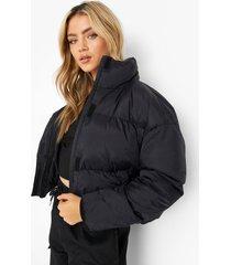 gewatterde jas met hoge hals, black