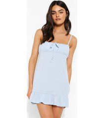 geribbelde strand jurk met geplooide zoom en bandjes, powder blue