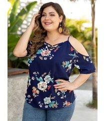 plus talla blusa con hombros descubiertos y estampado floral cruzado azul marino