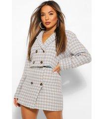 petite korte dogstooth jas met dubbele knopen, blauw
