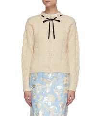 bow embellished cable knit cardigan