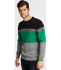 żakardowy sweter w bloki kolorystyczne