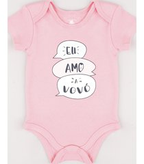 "body infantil ""eu amo a vovó"" manga curta rosa"