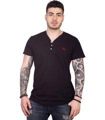 camiseta 4as manga curta gola v com botões
