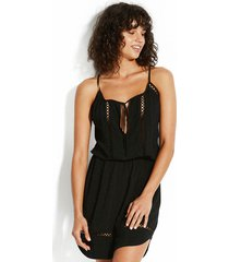 seafolly lace insert dress black