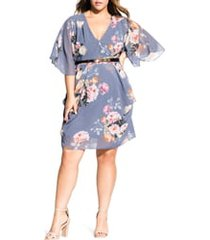 plus size women's city chic florence floral belted wrap style dress