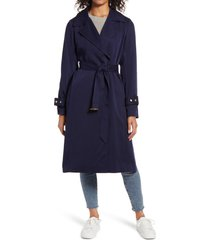 women's sam edelman belted trench coat, size xx-small - blue