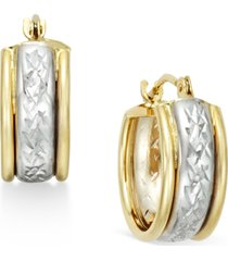 diamond-cut hoop earrings in 10k two-tone gold