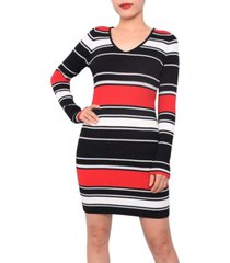 planet gold juniors' striped bodycon sweater dress