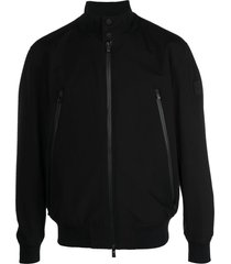 boss hugo boss long-sleeve zip-fastening jacket - black