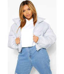 plus funnel neck cropped puffer jacket, powder blue