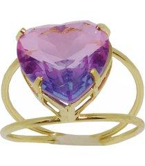 anel kumbayá joias coração rosa dourado