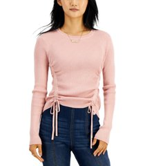 hooked up by iot juniors' ruched-sides ribbed sweater