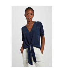 blusa com frente de seda decote v e nó frontal azul lennon - 44