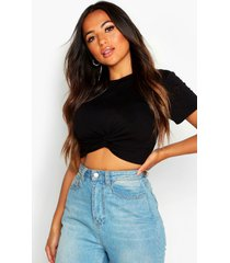 petite knot front cropped t-shirt, black