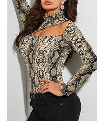 yoins camiseta caqui de piel de serpiente recortada diseño alta cuello camiseta de manga larga